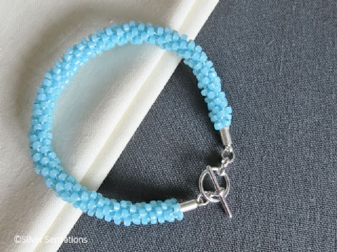 Light Turquoise Blue Beaded & Woven Kumihimo Seed Bead Bracelet
